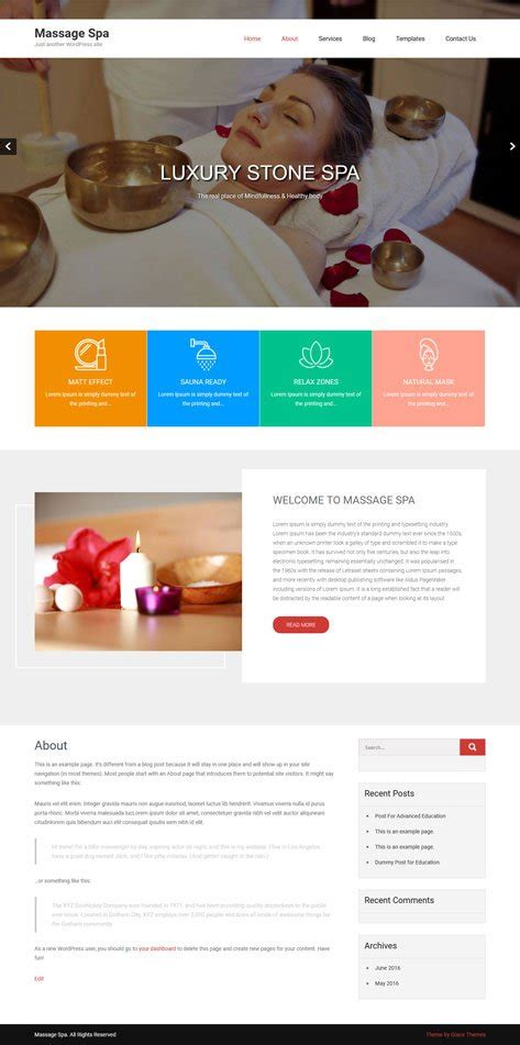 wordpress themes free massage 20 business free wordpress themes with responsive slider