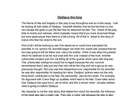 Oedipus Fate Essay by The Theme Of Fate And Tragedy In Quot Oedipus The King Quot A Level Classics Marked By Teachers