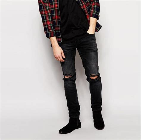 Knee Ripped Washed Premium Quality All Brand New 2017 2016 stretch denim wash ripped knees black fit torn macroporous mens