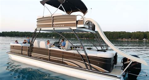 pontoon party boat with slide double terrace deck pontoon boat with a slide from