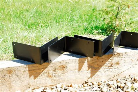 4 x jumbo corner timber railway sleeper bracket black