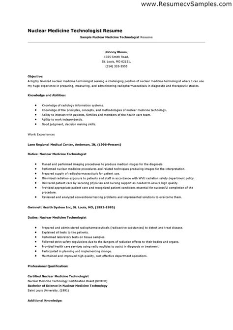 exle resume medical laboratory technologist resume