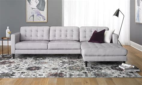 contemporary tufted sofa  oversized chaise  light