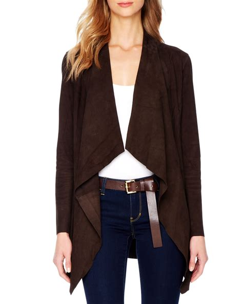 Draped Suede Jacket michael michael kors draped open suede jacket in brown chocolate lyst