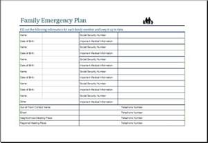 emergency plan template family emergency plan sheet