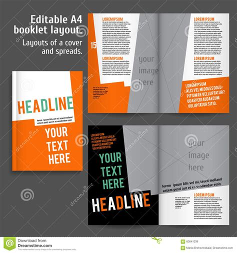 booklet layout template a4 booklet layout design template with cover stock vector