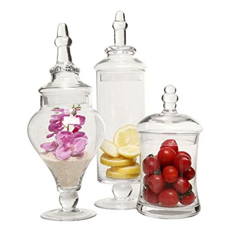 Decorative Tin Containers Designer Clear Glass Apothecary Jars 3 Piece Set