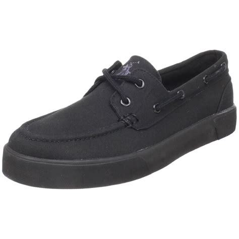 polo ralph lander boat shoe in black for black
