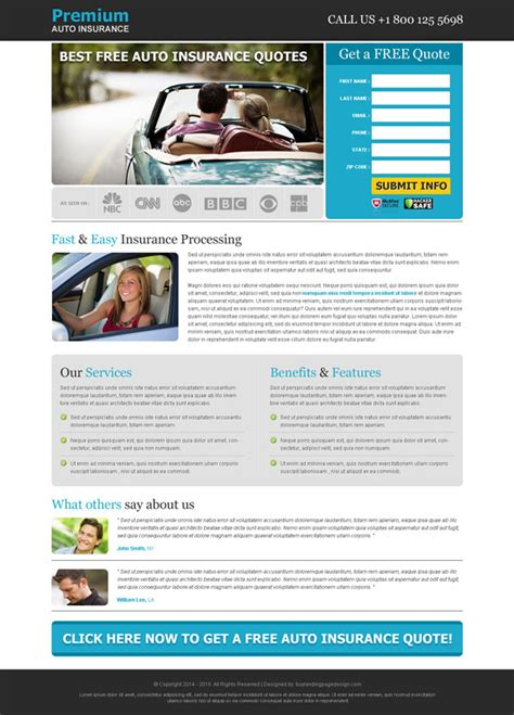 free capture page templates top 20 best auto insurance quote landing page design