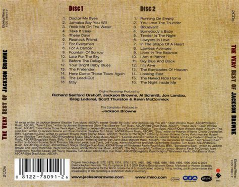 the best of jackson browne car 225 tula trasera de jackson browne the best of