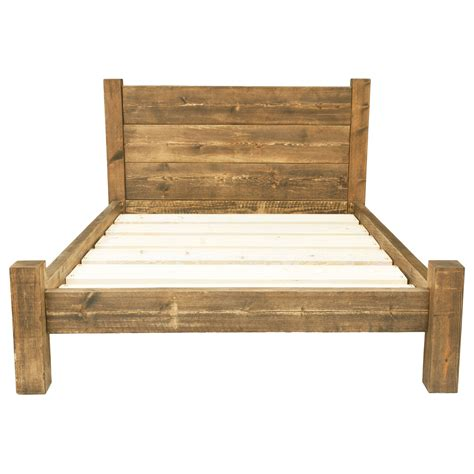 Wood Bed Frames And Headboards Bed Frame Chunky Solid Rustic Wood With Headboard And Storage Room All Sizes Ebay