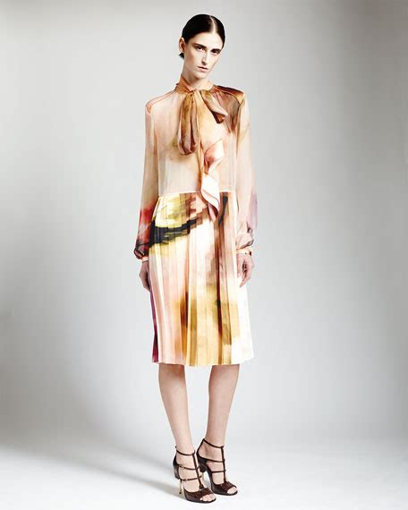 Givenchy Watercolourtas Givenchy givenchy watercolor silk dress with tie neck pleated skirt
