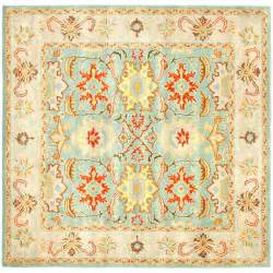 Safavieh Wool Rugs Safavieh Heritage Light Blue Ivory 4 Ft X 4 Ft Square Area Rug Hg734a 4sq The Home Depot