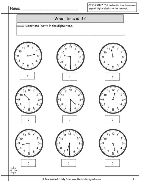 Time Worksheet by Telling Time Worksheets From The S Guide