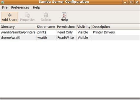 setup ubuntu server samba create modify delete samba shares with system config samba