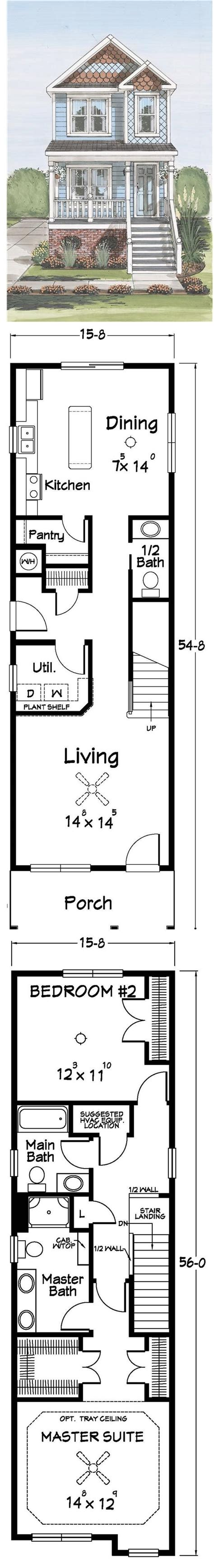 Small Two Story House Plans Narrow Lot by Best 25 Narrow Lot House Plans Ideas On