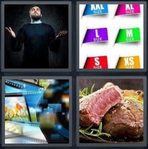 4 pics 1 word answer for psychic sizes film steak
