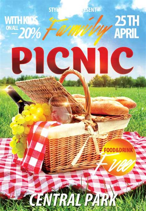 download the family picnic free flyer template for photoshop