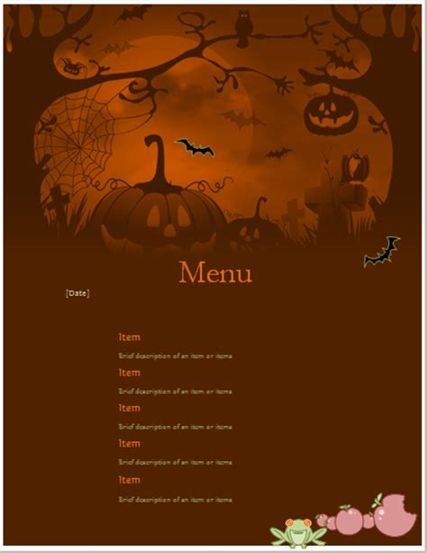 ms word halloween party menu sheet word excel templates
