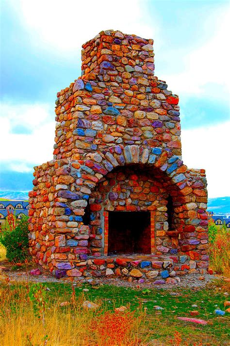 colorful fireplace colorful rock fireplace photograph by blunkall