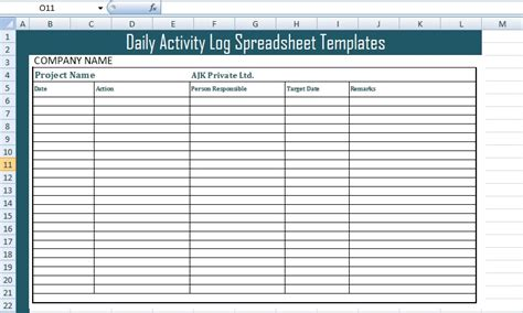 Get Daily Activity Log Spreadsheet Templates Excel Xls Templates Daily Activity Log Template