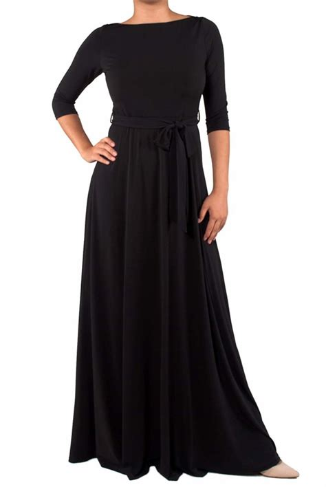 boat neck dress with 3 4 sleeves solid black 3 4 sleeve boat neck maxi dress red apparel