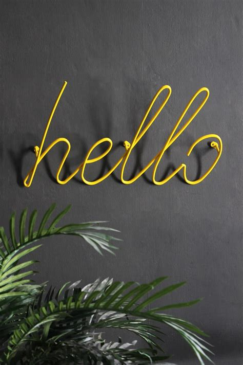 Hanger Hello hello wall hanger yellow from rockett st george