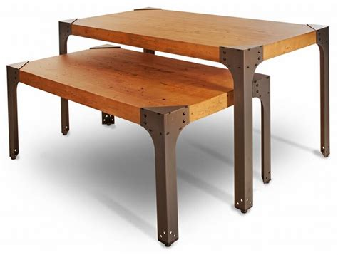 industrial nesting display table set distressed wood