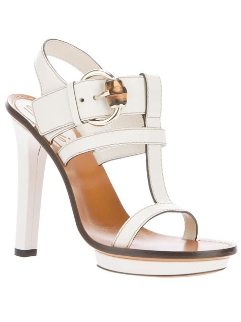 white gucci sandals gucci strappy heeled sandal in white lyst