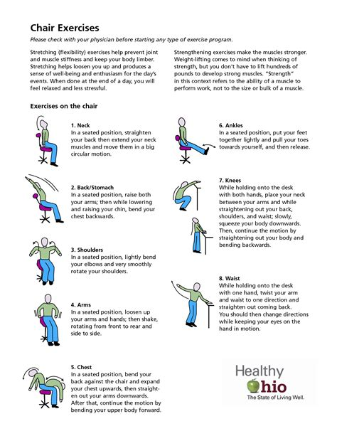 printable exercise program for seniors 8 best images of printable chair exercises senior chair