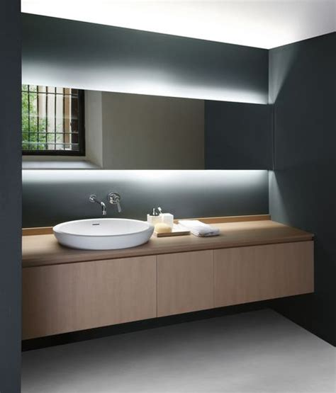Modern Bathroom Mirrors With Lights Just Look At The Simplicity Of It Anyone Could Adopt This Look For Their Bathroom Big Or Small