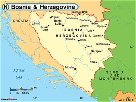 map of bosnia bosnien herzegovina politische karte