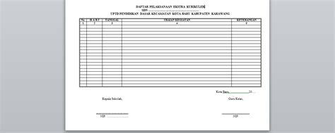 contoh format absensi ekstrakurikuler contoh format daftar pelaksanaan ekstra kurikuler