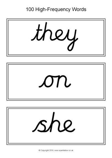 high frequency word cards cursive black  white