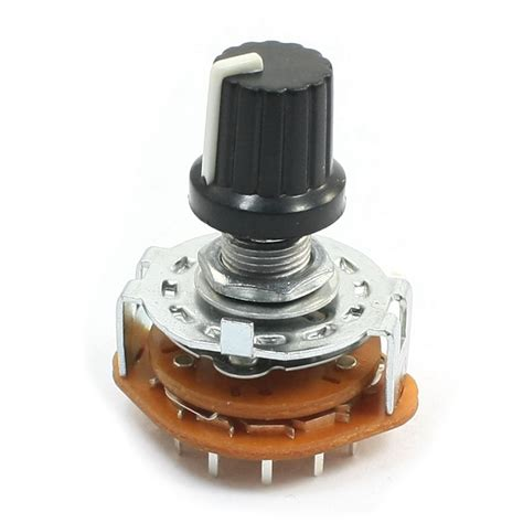 Tab Selector Volt 4 position rotary selector select switch 3p4t 3 pole 2 deck 15 pin black knob ac 642610525803 ebay