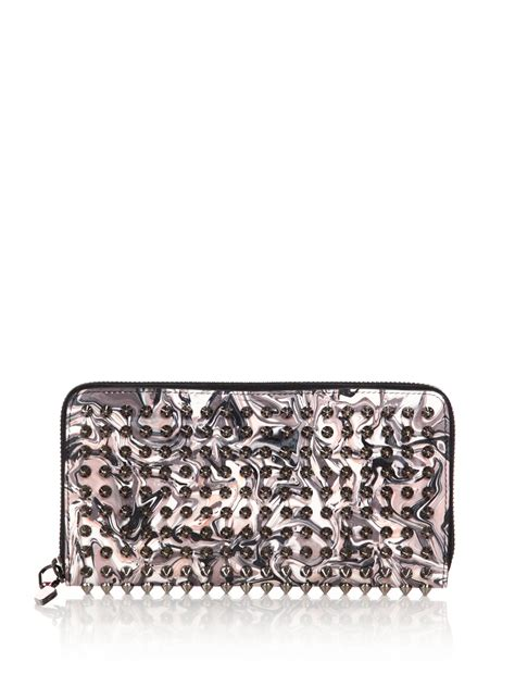 2 Die 4 Christian Louboutin Silver Studded Clutch by Christian Louboutin Panettone Studded Swirled Leather Zip