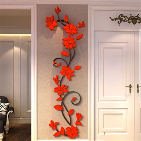 home decor 3d stickers 3d romantic rose flower wall sticker removable home decor