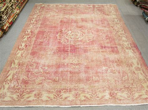 light pink wool rug vintage turkish oushak wool handmade pale pink rug from