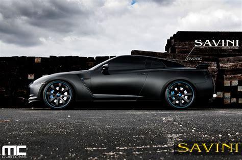 nissan gtr matte black gt r savini wheels