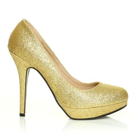 High Heels Gliter Rra Gold gold glitter stiletto high heel platform court shoes