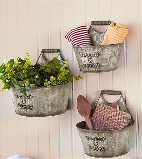 metal home decor rustic home decor 3pc wall hanging metal buckets country