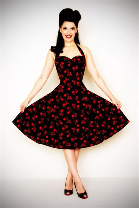 rockabilly 50s swing dress cherry black vintage retro
