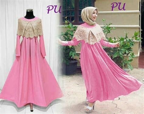 Labella Denim Gamis Reguler Bolero Pink jual larismanis maxi pink gamis wanita muslimah gaun pesta modern crepe brukla di lapak