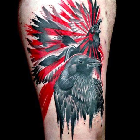 black and red ravens tattoo idea