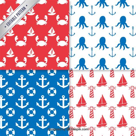 nautical pattern vector free nautical elements pattern vector free download