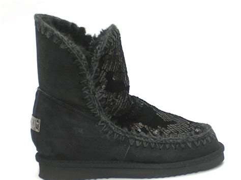 mou boots eskimo sequins black inner wedge niutrack
