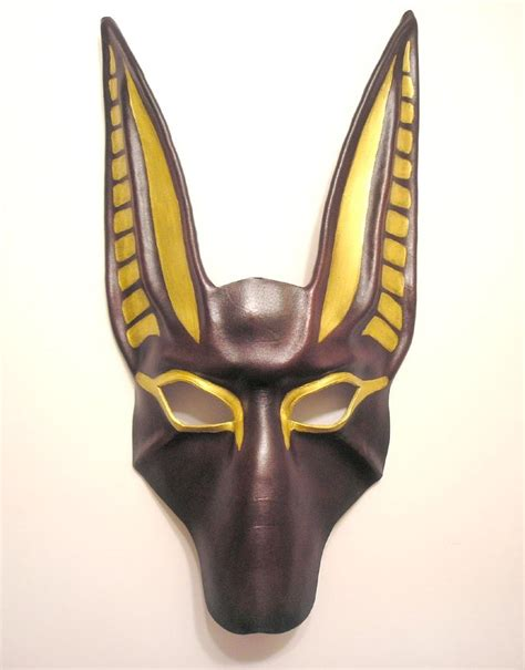 printable anubis mask anubis leather mask in dark reddish brown by teonova on