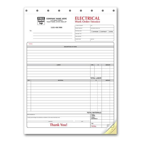 electrical work invoice template hardhost info