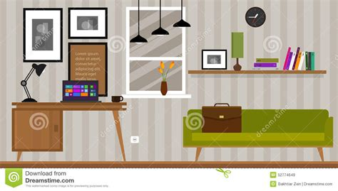 home interior work space table and sofa stock vector