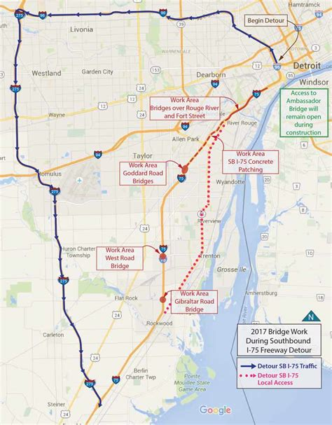 detroit traffic map southbound i 75 to for 2 years starting feb 4